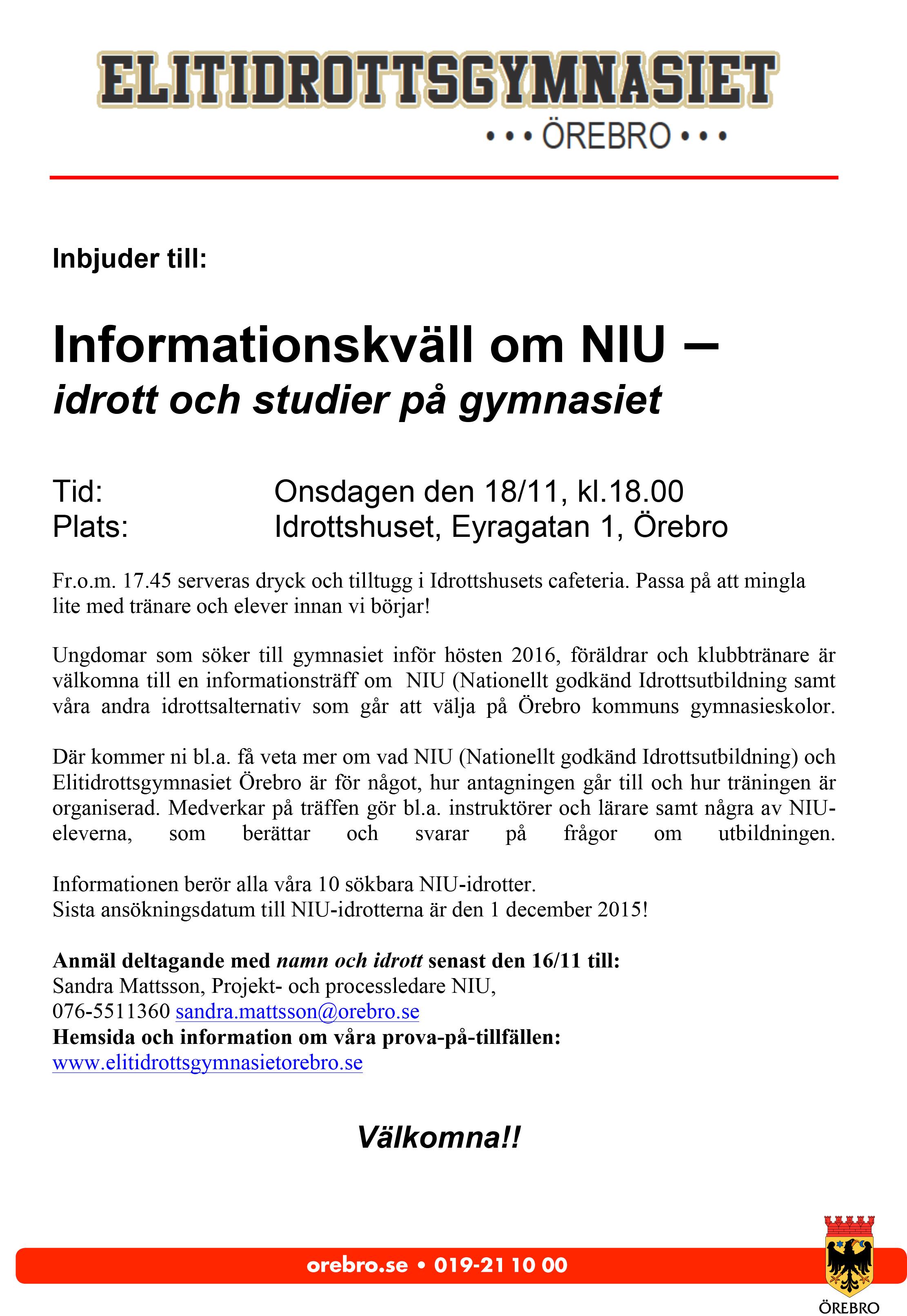 Inbjudan infoträff NIU 2015 18 nov